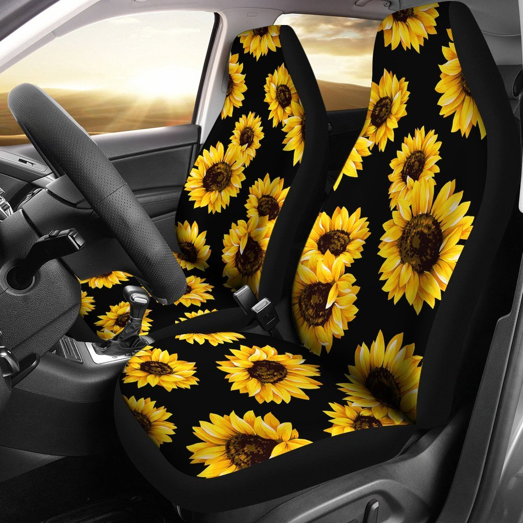 Marvelous Black Sunflower Pattern Print Universal Fit Car Seat Covers Andrewgaddart Wooden Chair Designs For Living Room Andrewgaddartcom