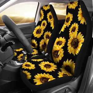 Fantastic Black Sunflower Pattern Print Universal Fit Car Seat Covers Andrewgaddart Wooden Chair Designs For Living Room Andrewgaddartcom
