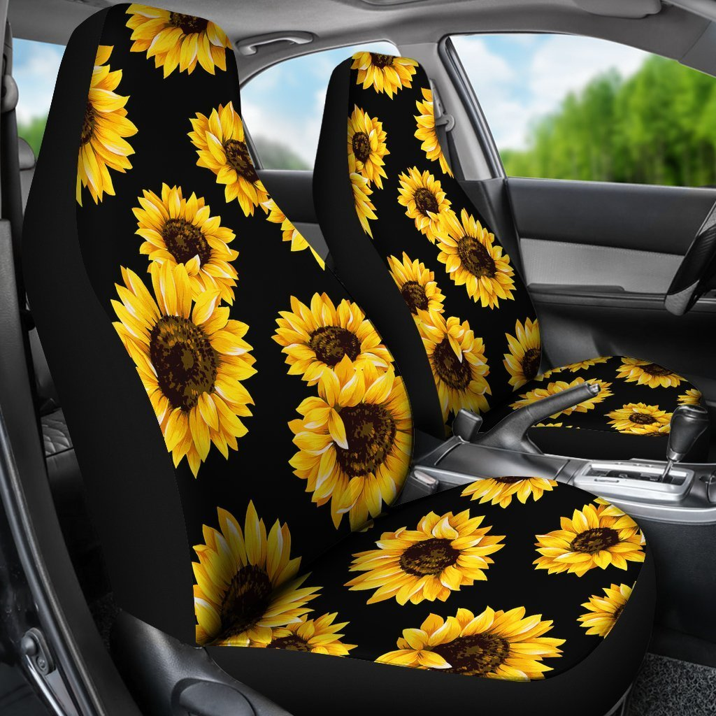 Remarkable Black Sunflower Pattern Print Universal Fit Car Seat Covers Andrewgaddart Wooden Chair Designs For Living Room Andrewgaddartcom