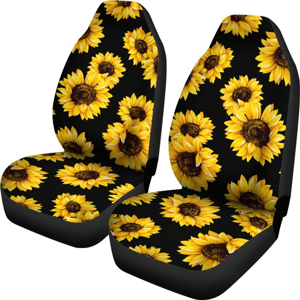 Black Sunflower Pattern Print Universal Fit Car Seat Covers GearFrost