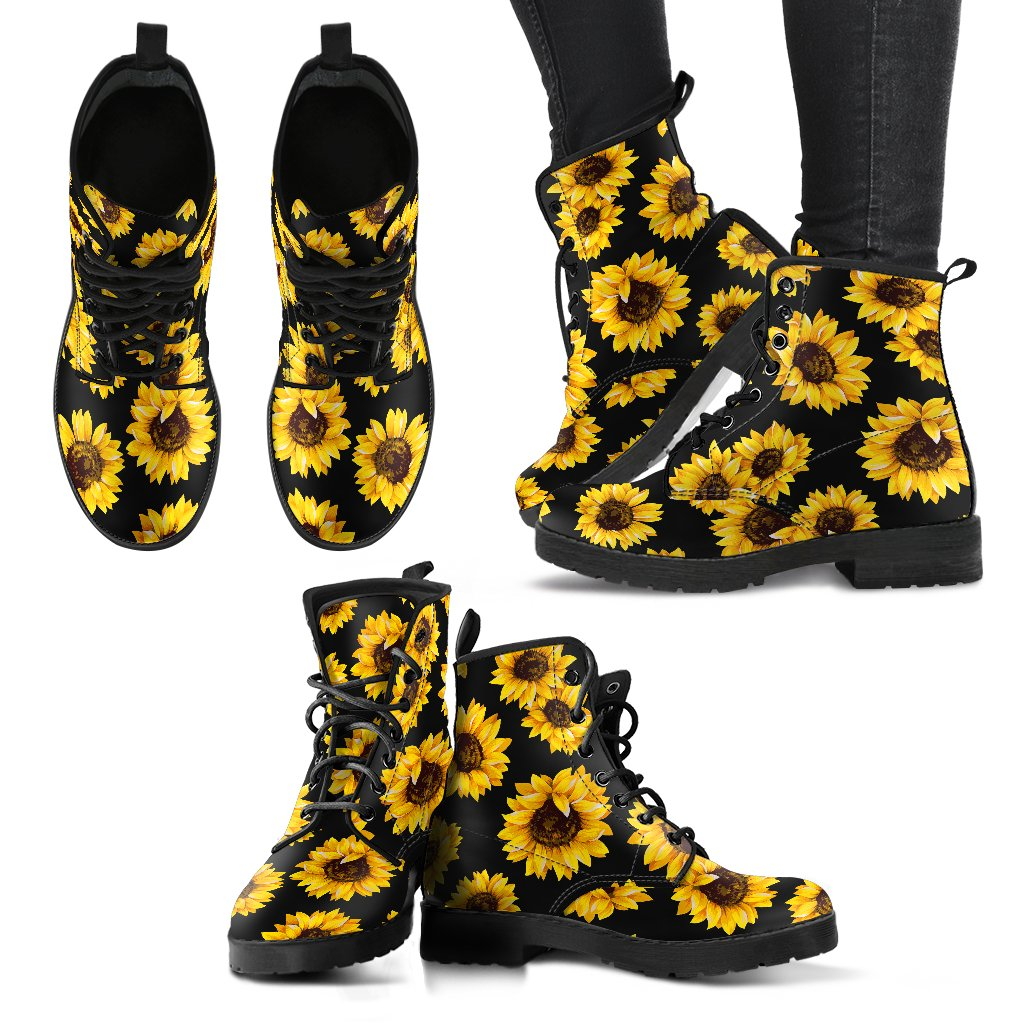 Black Sunflower Pattern Print Women's Boots GearFrost