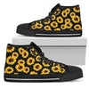 Black Sunflower Pattern Print Women's High Top Shoes GearFrost