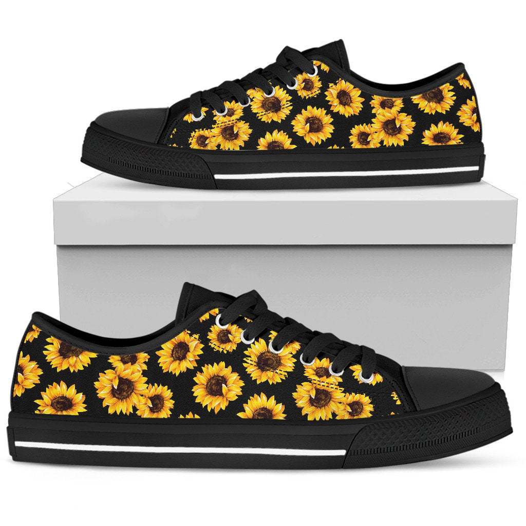 Black Sunflower Pattern Print Women's Low Top Shoes GearFrost