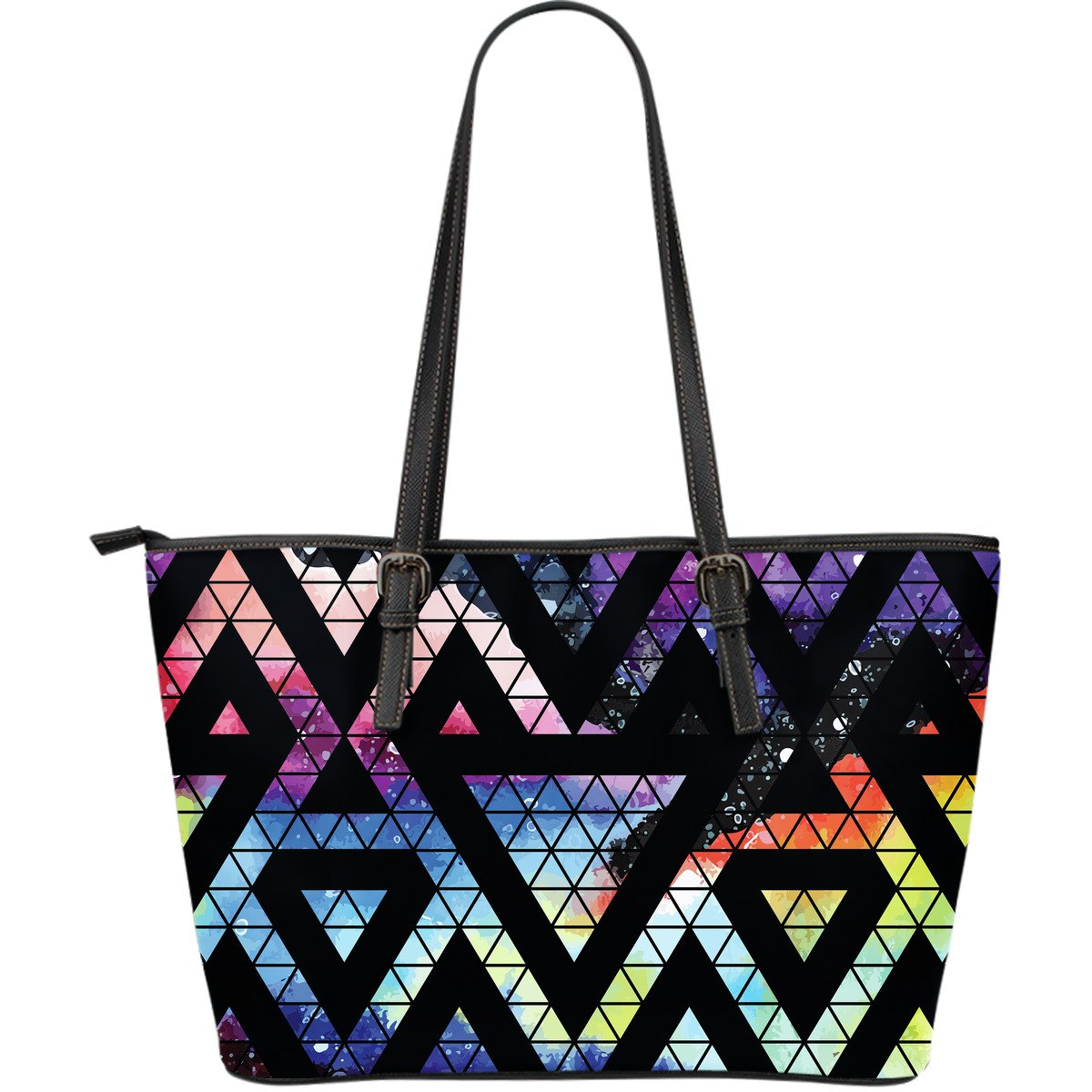 Black Triangle Galaxy Space Print Leather Tote Bag GearFrost