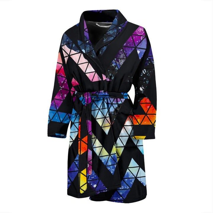 Black Triangle Galaxy Space Print Men's Bathrobe GearFrost
