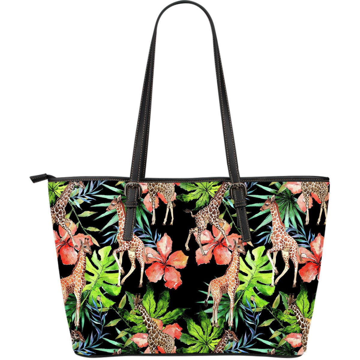Black Tropical Giraffe Pattern Print Leather Tote Bag GearFrost