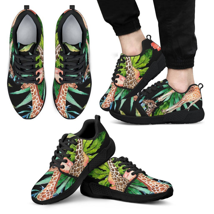 Black Tropical Giraffe Pattern Print Men's Athletic Shoes GearFrost