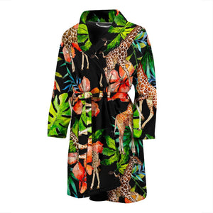 Black Tropical Giraffe Pattern Print Men's Bathrobe GearFrost