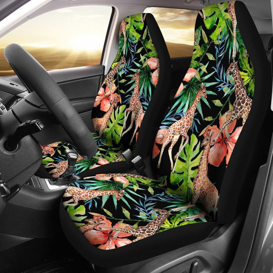 Black Tropical Giraffe Pattern Print Universal Fit Car Seat Covers GearFrost