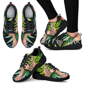 Black Tropical Giraffe Pattern Print Women's Athletic Shoes GearFrost