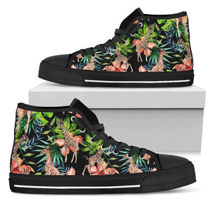 Black Tropical Giraffe Pattern Print Women's High Top Shoes GearFrost