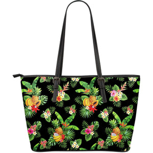Black Tropical Hawaiian Pattern Print Leather Tote Bag GearFrost