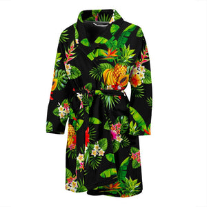 Black Tropical Hawaiian Pattern Print Men's Bathrobe GearFrost