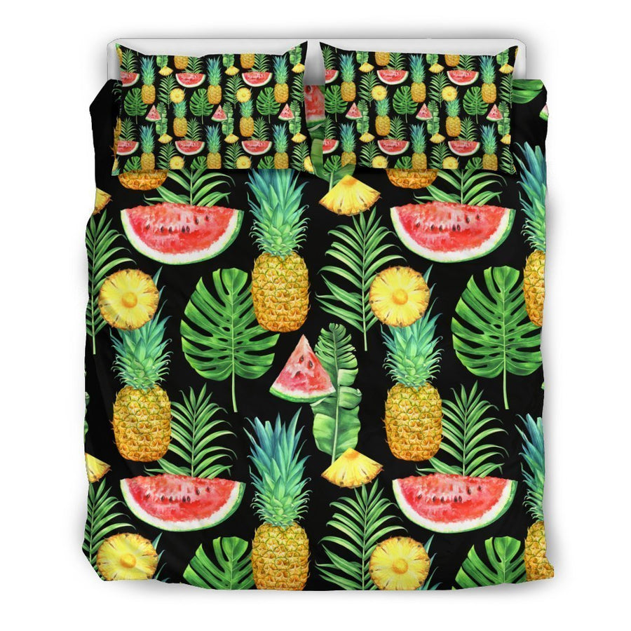 Black Tropical Pineapple Pattern Print Duvet Cover Bedding Set GearFrost