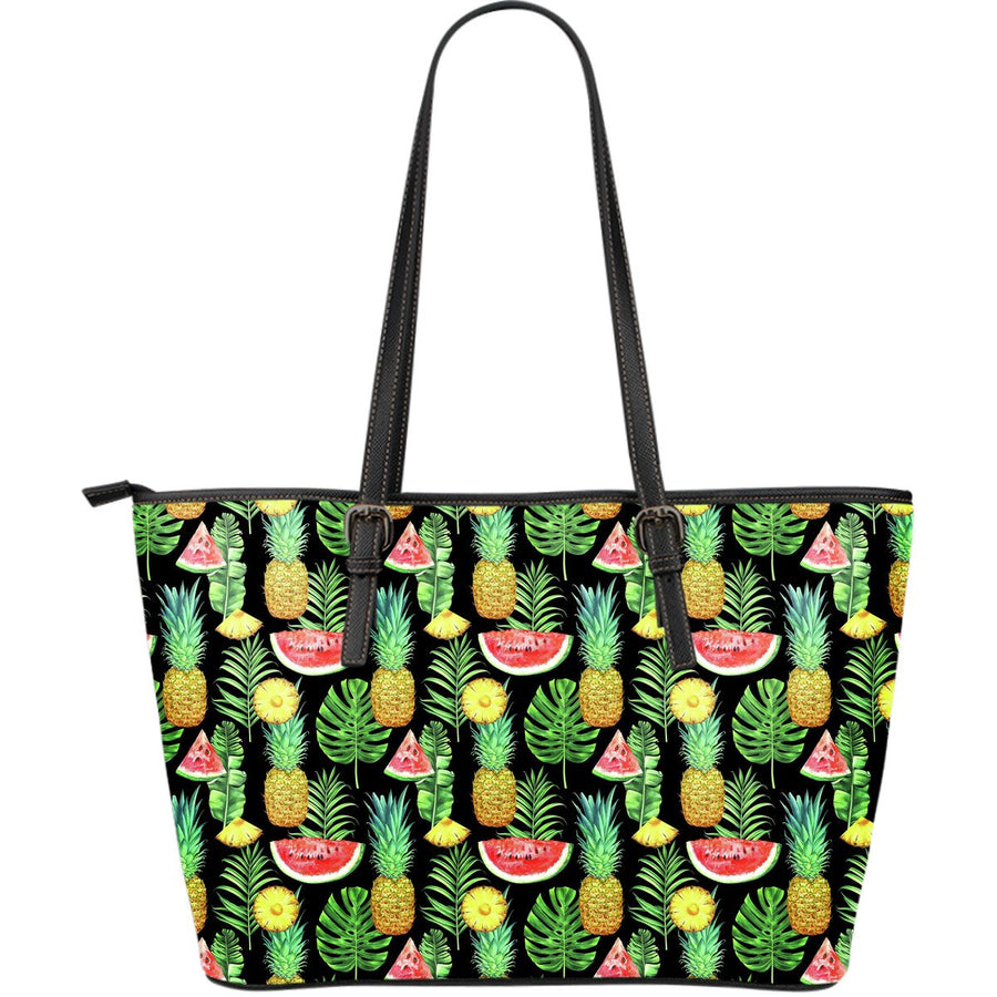 Black Tropical Pineapple Pattern Print Leather Tote Bag GearFrost
