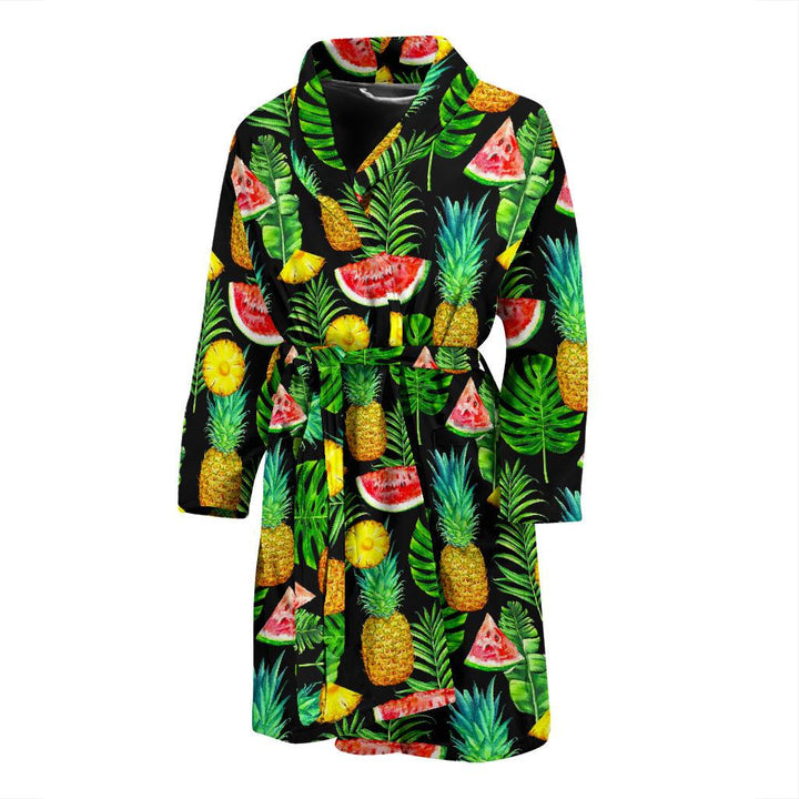 Black Tropical Pineapple Pattern Print Men's Bathrobe GearFrost