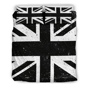 Black Union Jack British Flag Print Duvet Cover Bedding Set GearFrost
