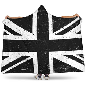 Black Union Jack British Flag Print Hooded Blanket GearFrost