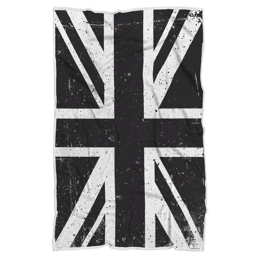 Black Union Jack British Flag Print Sherpa Blanket GearFrost