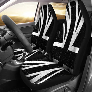 Black Union Jack British Flag Print Universal Fit Car Seat Covers GearFrost