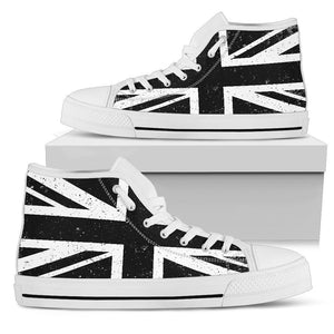 Black Union Jack British Flag Print Women's High Top Shoes GearFrost