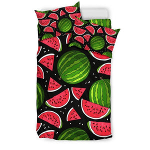 Black Watermelon Pieces Pattern Print Duvet Cover Bedding Set GearFrost