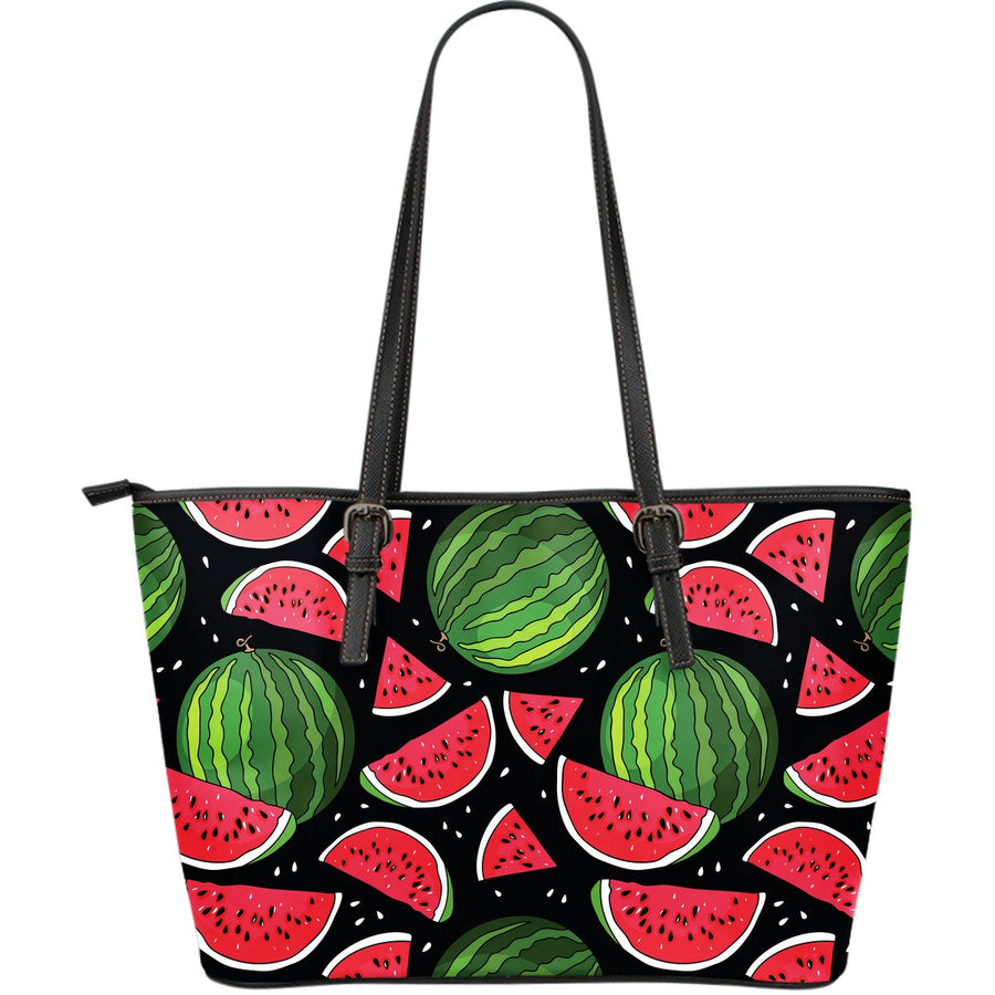 Black Watermelon Pieces Pattern Print Leather Tote Bag GearFrost