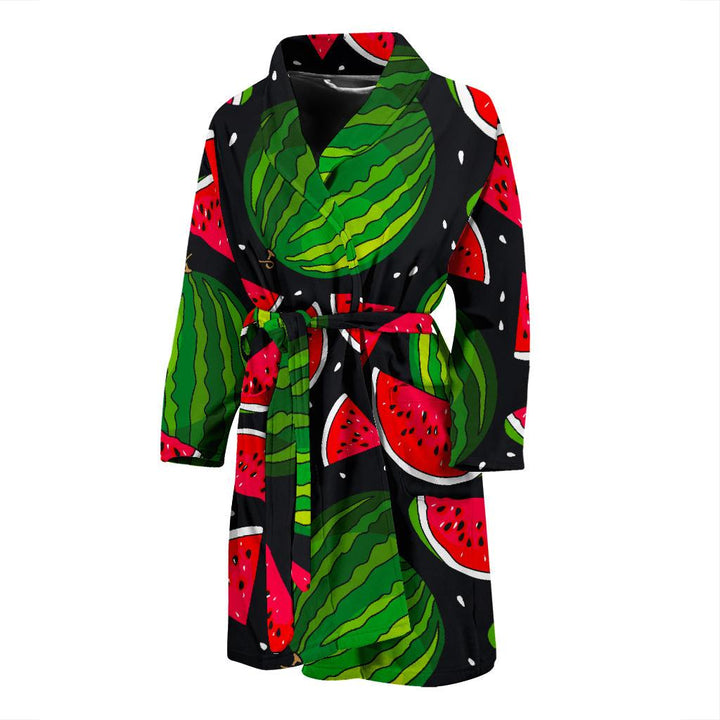 Black Watermelon Pieces Pattern Print Men's Bathrobe GearFrost