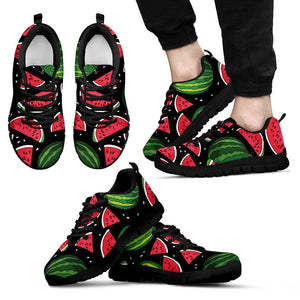 Black Watermelon Pieces Pattern Print Men's Sneakers GearFrost
