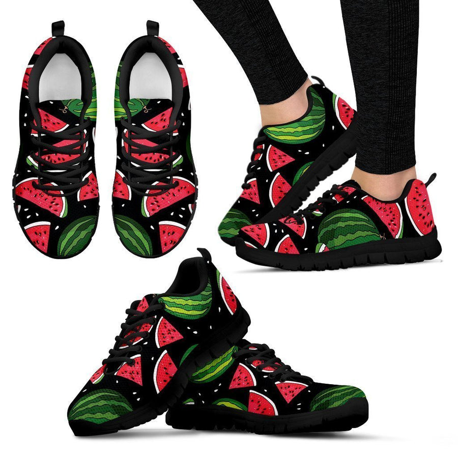 Black Watermelon Pieces Pattern Print Women's Sneakers GearFrost