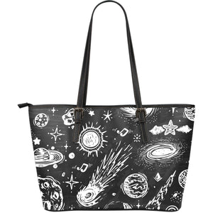 Black White Galaxy Outer Space Print Leather Tote Bag GearFrost
