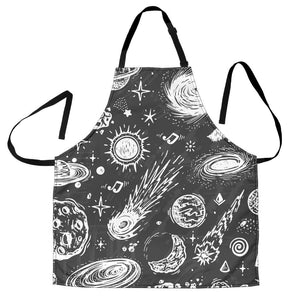 Black White Galaxy Outer Space Print Men's Apron GearFrost