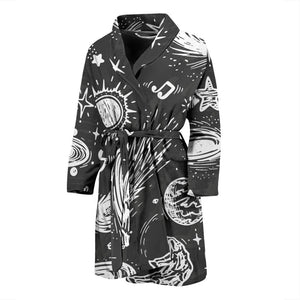 Black White Galaxy Outer Space Print Men's Bathrobe GearFrost