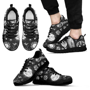 Black White Galaxy Outer Space Print Men's Sneakers GearFrost