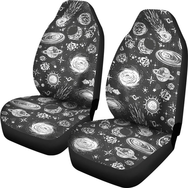 Black White Galaxy Outer Space Print Universal Fit Car Seat Covers