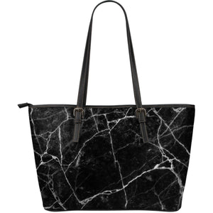 Black White Grunge Marble Print Leather Tote Bag GearFrost