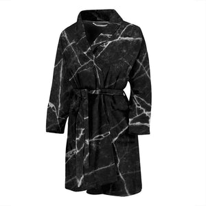 Black White Grunge Marble Print Men's Bathrobe GearFrost