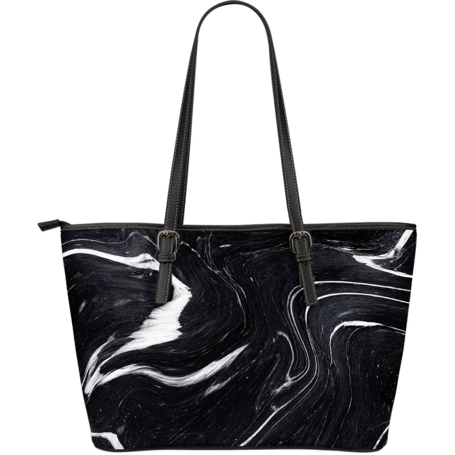 Black White Liquid Marble Print Leather Tote Bag GearFrost