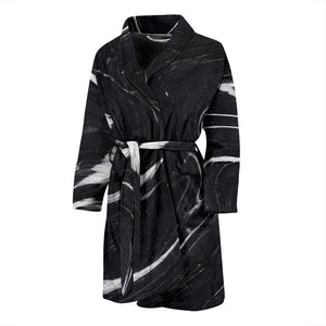Black White Liquid Marble Print Men's Bathrobe GearFrost