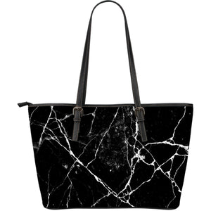 Black White Natural Marble Print Leather Tote Bag GearFrost