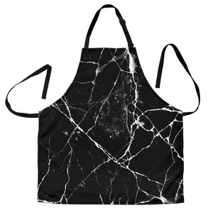 Black White Natural Marble Print Men's Apron GearFrost