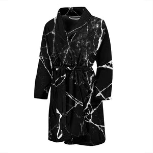 Black White Natural Marble Print Men's Bathrobe GearFrost