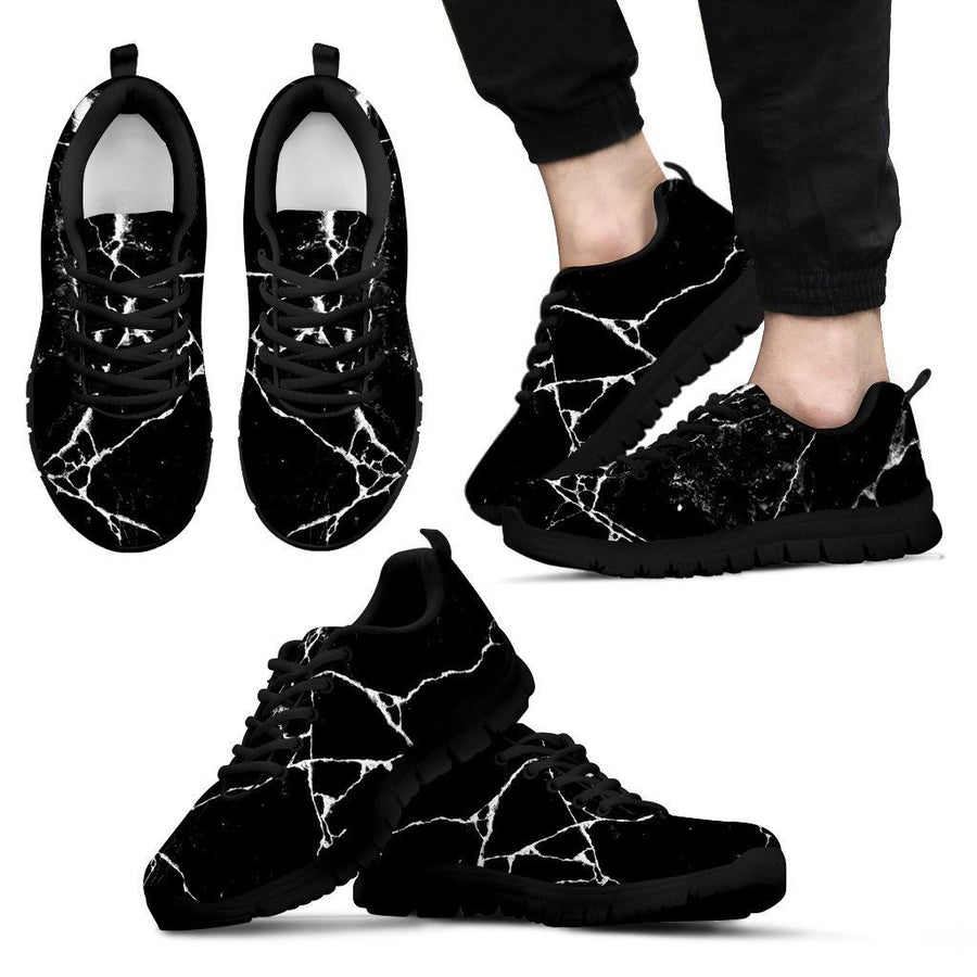 Black White Natural Marble Print Men's Sneakers GearFrost