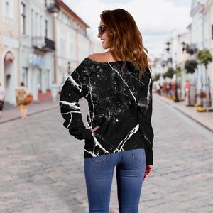 Black White Natural Marble Print Off Shoulder Sweatshirt GearFrost