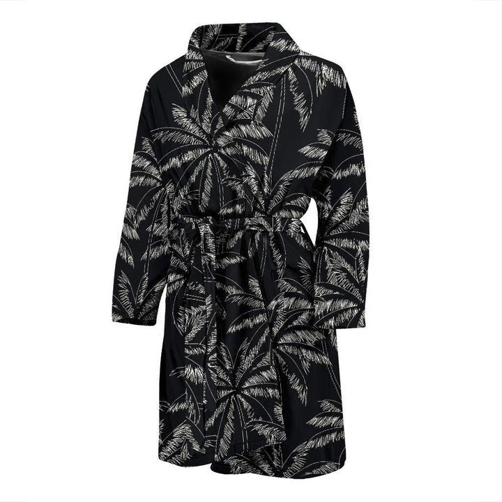 Black White Palm Tree Pattern Print Men's Bathrobe GearFrost