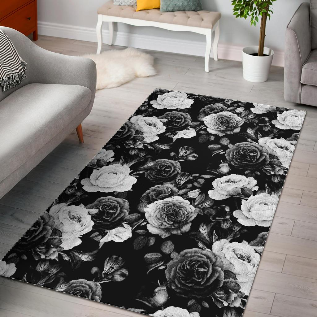 Black White Rose Floral Pattern Print Area Rug GearFrost