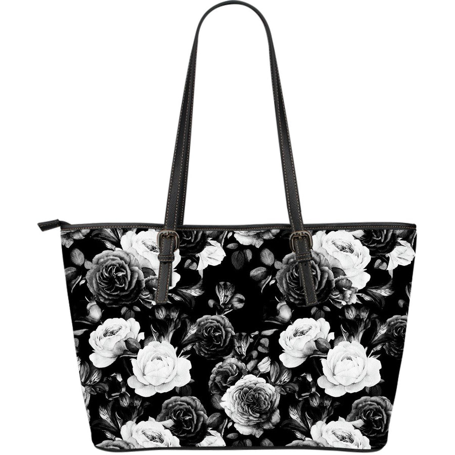 Black White Rose Floral Pattern Print Leather Tote Bag GearFrost
