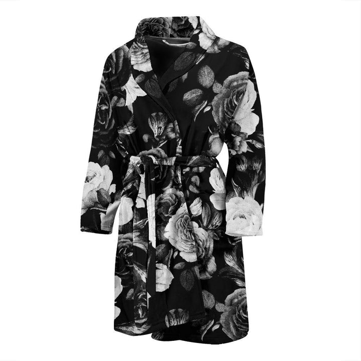 Black White Rose Floral Pattern Print Men's Bathrobe GearFrost