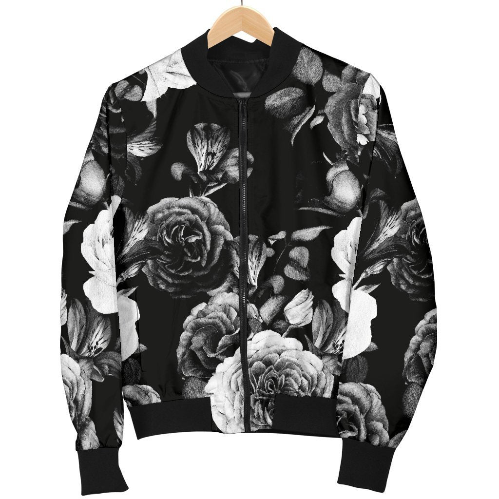 Black White Rose Floral Pattern Print Men's Bomber Jacket GearFrost