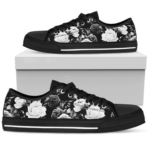 Black White Rose Floral Pattern Print Men's Low Top Shoes GearFrost